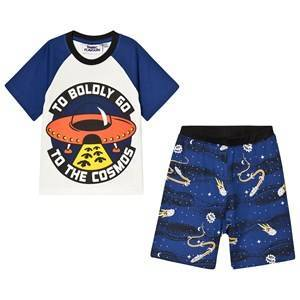 Fabric Flavours Out of This World To Boldly Go Pajama Set White & Navy 7-8 years
