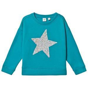 GAP Flip Sequins Dolman Sweatshirt New Bright Sea M (8-9 r)