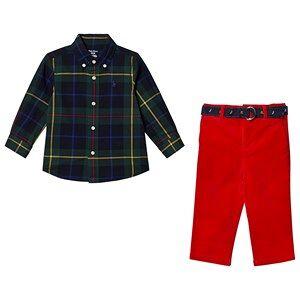 Ralph Lauren Green Tartan Shirt and Red Cords with Belt 12 months