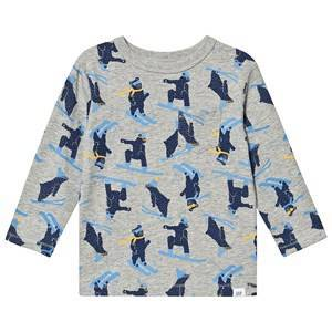 GAP Long Sleeved T-shirt Print Light Heather Grey 4 r