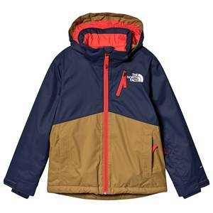 The North Face Navy, Brown & Orange Colour Block Snowquest Plus Ski Jacket XS (6 years)
