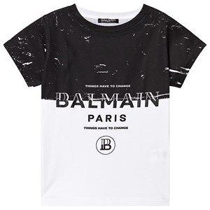 Balmain Logo Colorblock T-Skjorte Svart og Hvit 16 years