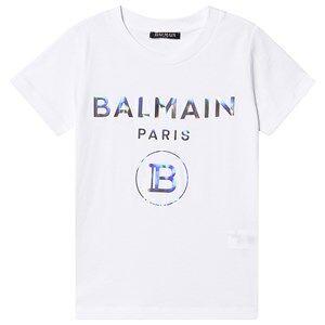 Balmain Hologram Logo T-Skjorte Hvit 8 years