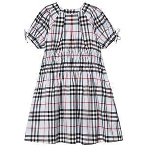 Burberry Ruched Panel Vintage Check Lysebl Kjole 8 years