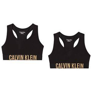 Calvin Klein Logo Bralettes 2-Pack Black and Gold 14-16 years
