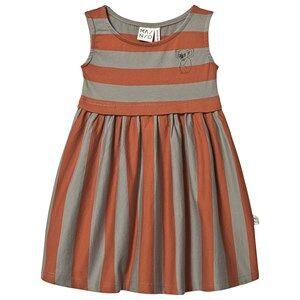 MAINIO Stripe Kjole Bombay Brown/Seagrass 134/140 cm