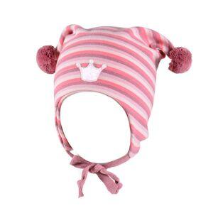 Kivat vårlue til barn med burgunder, dus lilla og rosa striper