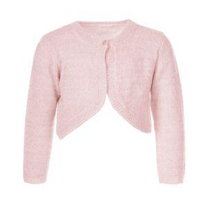 Salto strikket glitter bolero til barn, rosa med sølv