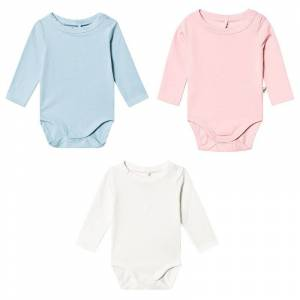 A Happy Brand A Happy Brand 3-Pack Baby Body Vit/Rosa/Blå