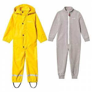 Kuling Kuling Regnoverall och Fleeceoverall Sunshine Yellow/Grå