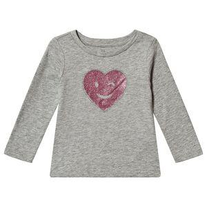 Gap Glitter Hjärta Långärmad T-Shirt Grå 4 år