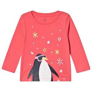 Gap Pingvin Långärmad T-Shirt Rosa 18-24 mån
