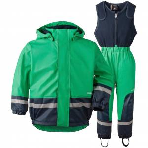 Didriksons Boardman bright green fleecefodrat regnset (Stl: 80, 90, 130, )