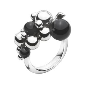 Jensen Georg Jensen Moonlight Grapes Lille Ring i Sterling Sølv med Onyx