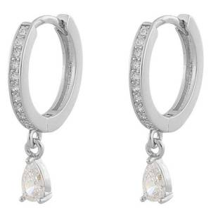 Snö Of Sweden Camille Drop Ring Earring ─ Silver/Clear