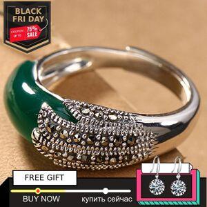 Antique S925 Fine Antique shop Rings Unique Emerald Rings Luxury Taste Women Handmade Vintage Natural Chalcedony moldavite peridot
