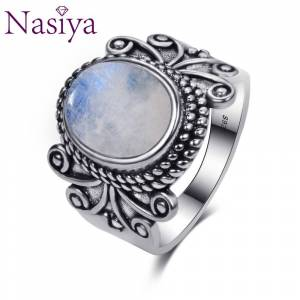 Antique Nasiya Antique Silver Rings Oval Natural Rainbow Moonstone Rings For Women 925 Silver Jewelry For Party Wedding Birthday Gift