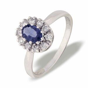 Diana hvitt gull ring 14k med safir og diamanter 0,25 tw/si.
