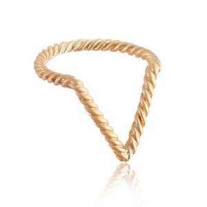 Everneed Hailey Twisted V Ring Matte Gold 16 mm