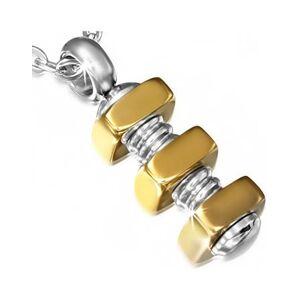 Skruvar med Guldfärgade Muttrar - Smycke med Hänge