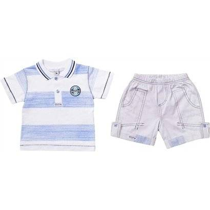 Conjunto Polo Shorts Meia Malha Oxford Menino Grmio Reve Dor - G - Masculino