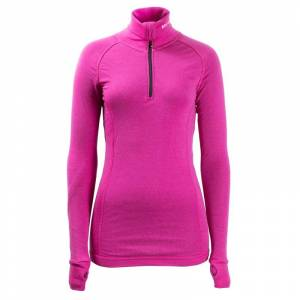 BRYNJE Lady Arctic Zip Polo with Thumbfingergrip Pink Pink S