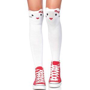 Cute Kitty - Tynnstrikkede Hvite Knestrømper