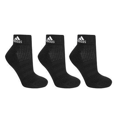 Pacote Meia Adidas Ankle Cushion 3S Cano Médio Com 3 Pares - Unissex-Preto