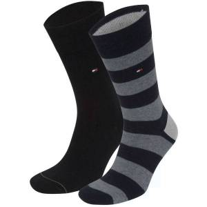 Tommy Hilfiger 2 pakkaus Men Rugby Sock - Black  - Size: 342021001 - Color: musta