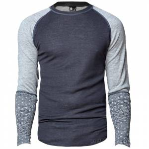 Bula Geo Merino Wool Sleeve Crew Grå