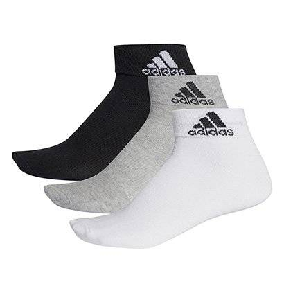 Meia Adidas Ankle Thin Pacote C/ 3 Pares Cano Mdio - Unissex