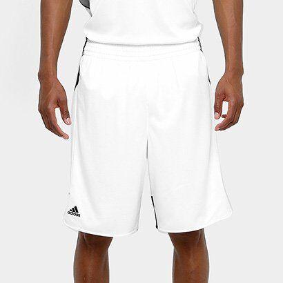 Bermuda Adidas Teamstock Masculina - Masculino-Branco+Preto