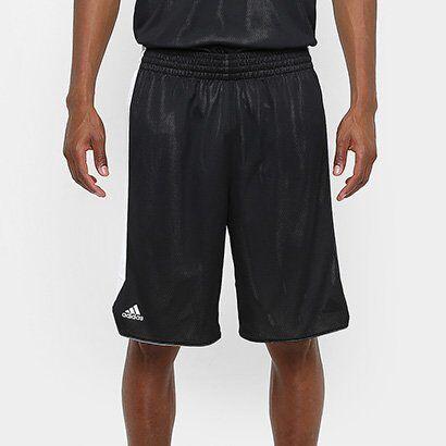 Bermuda Adidas Treino Dupla Face Masculina - Masculino-Preto
