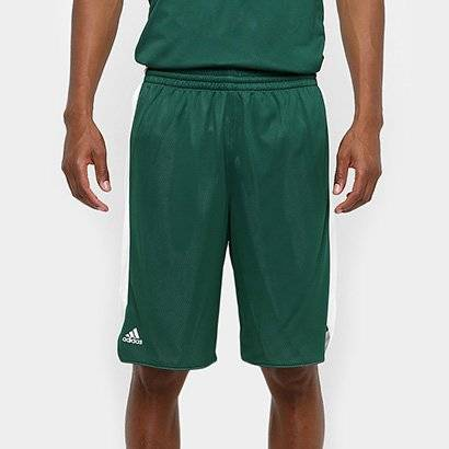 Bermuda Adidas Treino Dupla Face Masculina - Masculino-Verde escuro