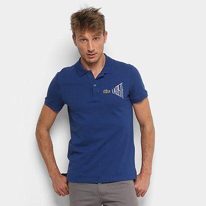 Camisa Polo Lacoste Clássica Masculina - Masculino-Marinho+Branco