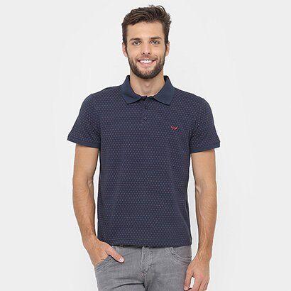 Camisa Polo M. Office Piquet Mini Print - Masculino-Marinho