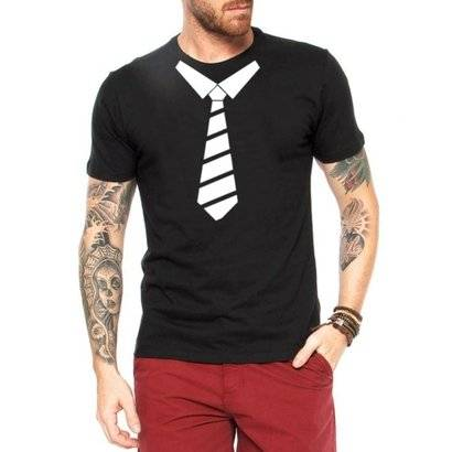 Camiseta Criativa Urbana Gravata Engraçadas - Masculino-Preto