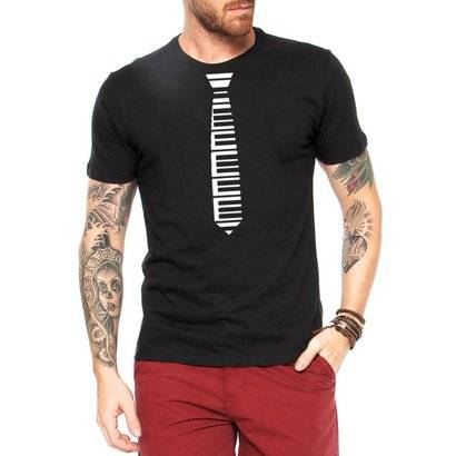 Camiseta Criativa Urbana Gravata Piano Engraçadas - Masculino-Preto