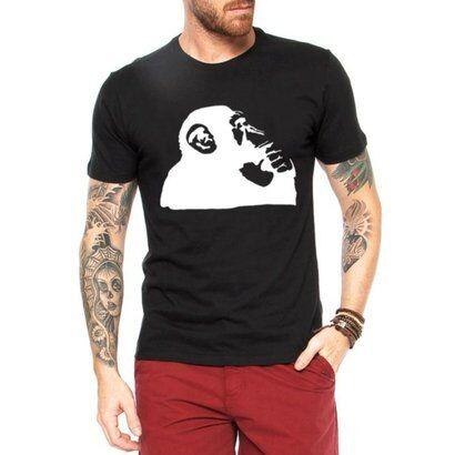 Camiseta Criativa Urbana Macaco Pensador - Masculino-Preto