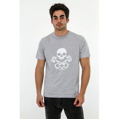 Camiseta Romeo Store Pistons And Skull - Masculino-Cinza