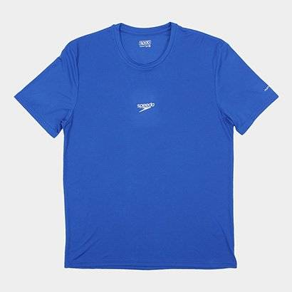 Camiseta Speedo Basic Interlock Uv50 Masculina - Masculino-Azul