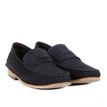 Mocassim Couro Shoestock Nobuck Gravata Masculino - Masculino-Marinho