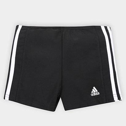Sunga Adidas Boxer Infinitex 3S Infantil - Masculino-Preto+Branco