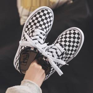 Fashion Ladies Sneakers Casual Shoes Ladies Summer Canvas Shoes Sneakers Lace Women Black and White Plaid Tynis Feminino