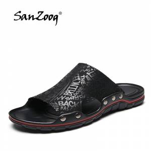 daf567a56e50 2019 New Men Slippers Super Cool Fashion Men s Slides Summer Beach Leather Slippers  Man Casual Sandals