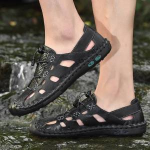 Large size 38-48 Genuine Leather breathable Shoes Summer Men's Sandals Fashion Summer Casual Shoes Men Beach Sandalias Men Shoes