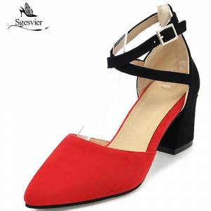 2615a2d6ff1e4 SGESVIER 2018 Spring Brand Women Shoes Pumps Thick Heel Pointed Toe Lady  Shoes Ankle Strap Buckle