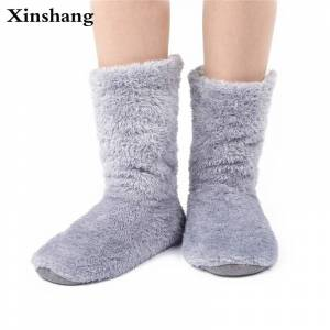 d2db73c63bd Xinshang Women Plush Home Shoes Slippers Coral Fleece Indoor Floor Sock  Indoor Slipper Winter Foot Warmer