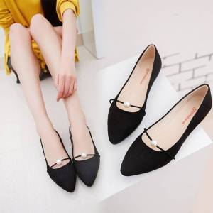 New Women Solid Color Suede Flats Heel Pearl Fashion High Quality Basic  Pointed Toe Ballerina Ballet 85eea209f5e8