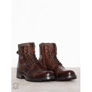 Jack & Jones Jfwalbany Leather Brown Stone Noos Boots Mørk brun